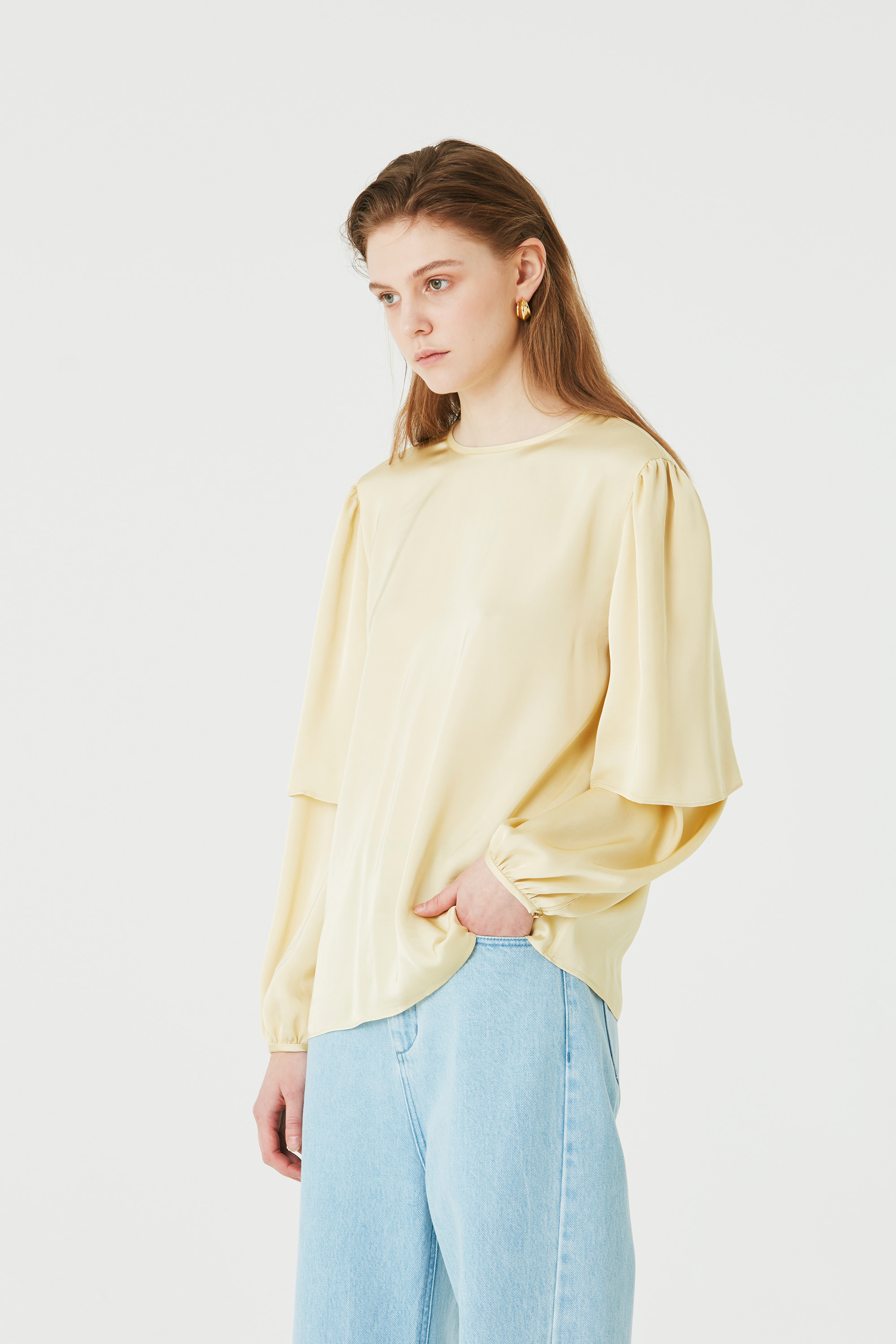 YELLOW LAYERED SLEEVE  BLOUSE