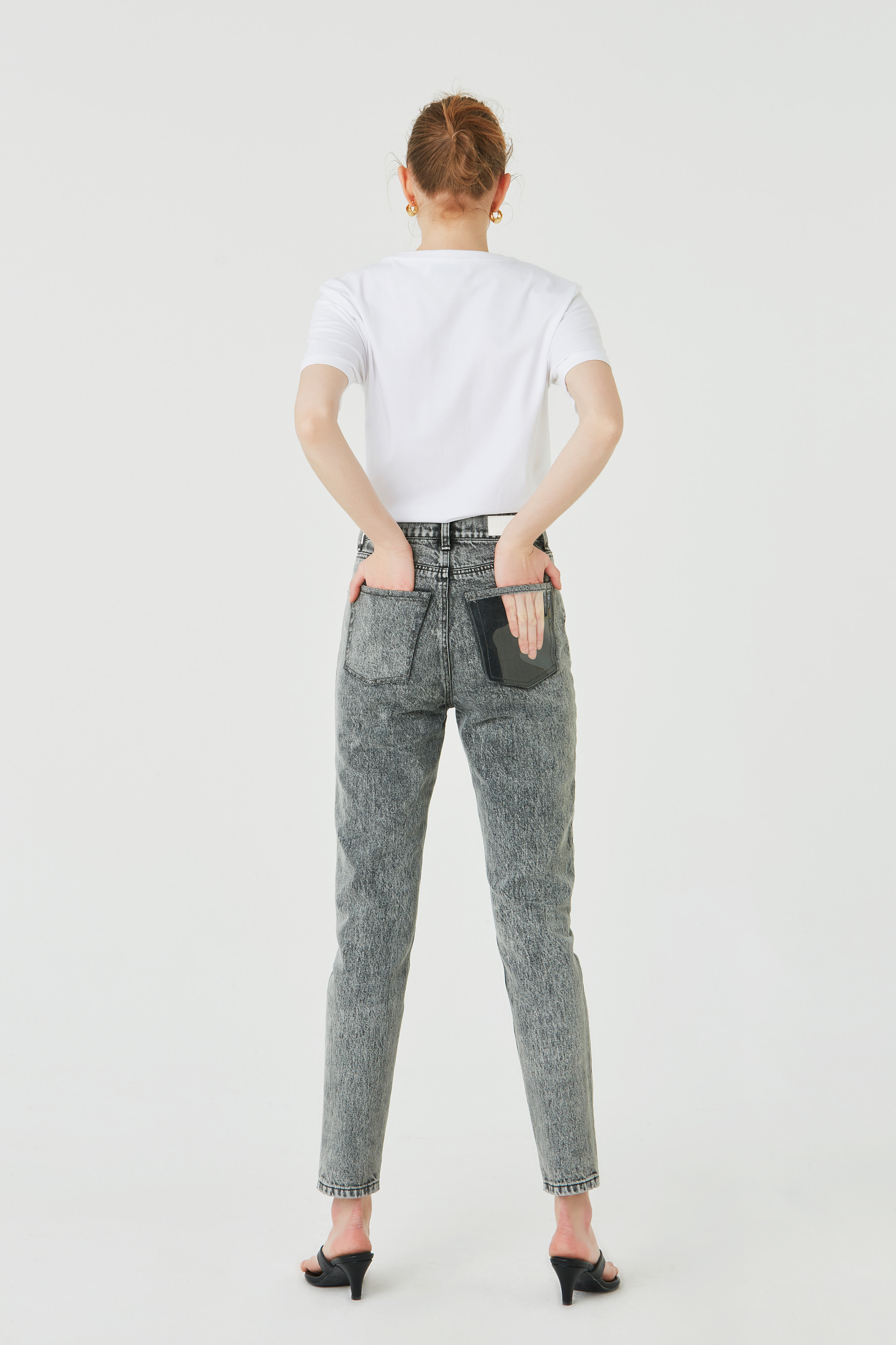 90S GREY STONE-WASHED JEANS (FABRIC FROM ITALY)