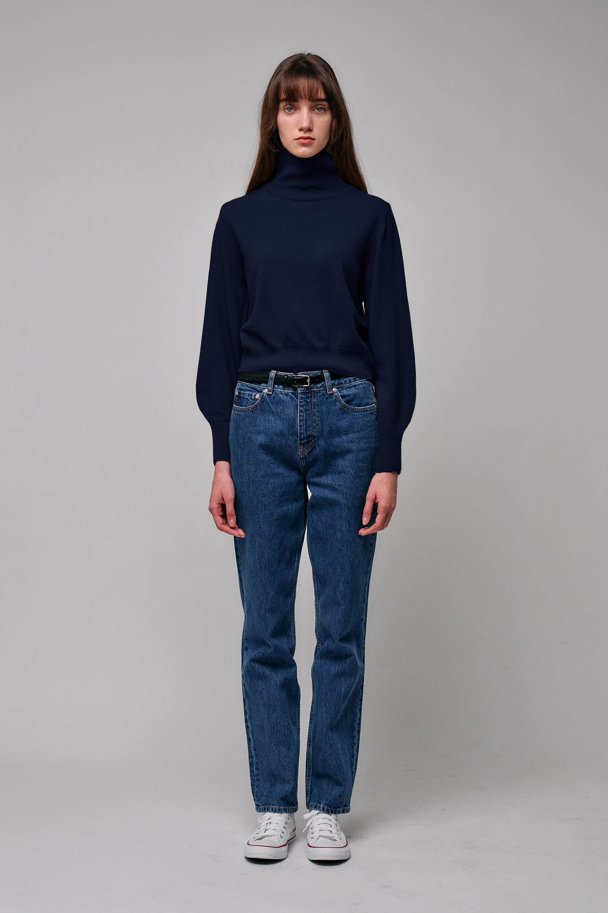 Cashmere Roll-Neck Pullover (navy)