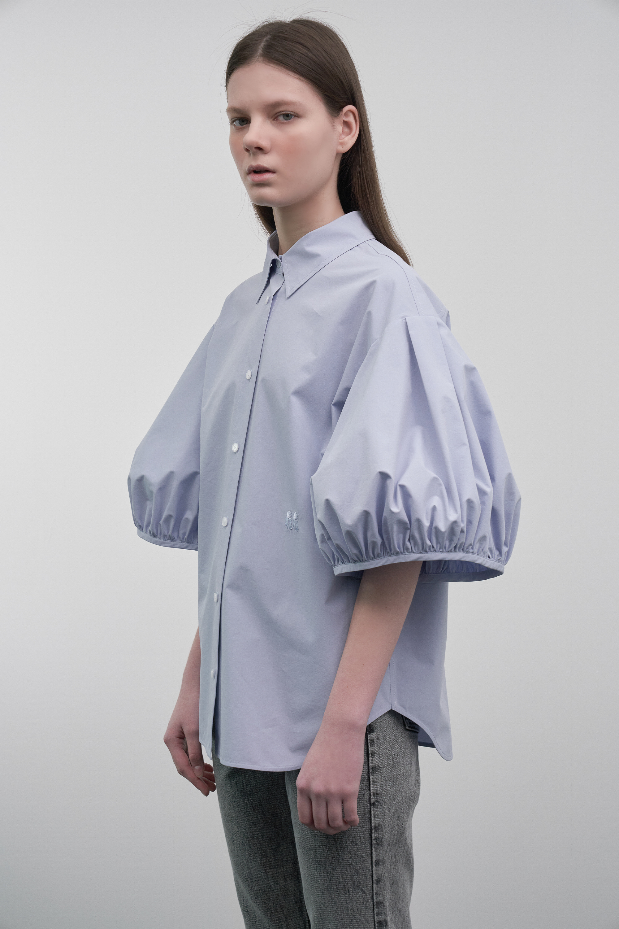 Volume Puff-Sleeved Blouse (blue)
