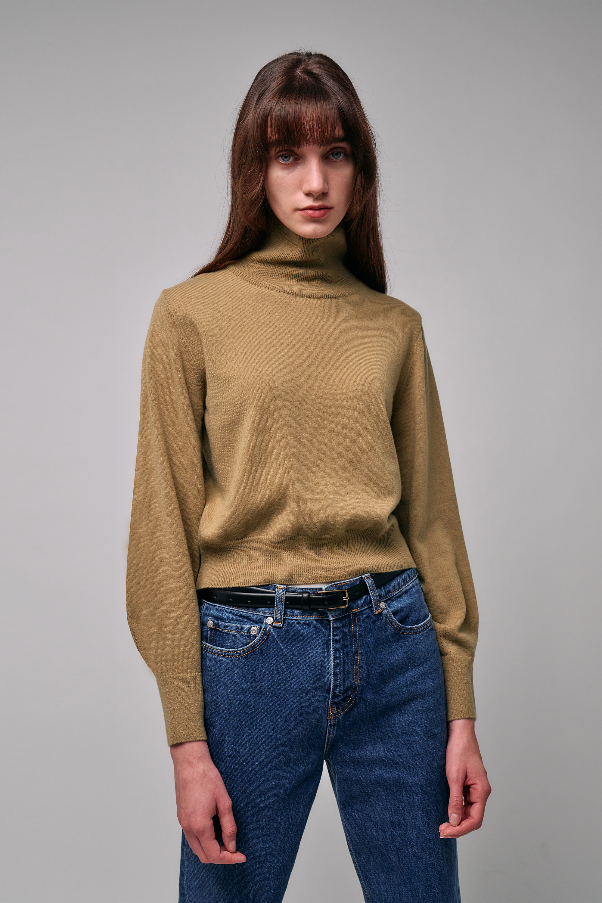 Cashmere Roll-Neck Pullover (camel)