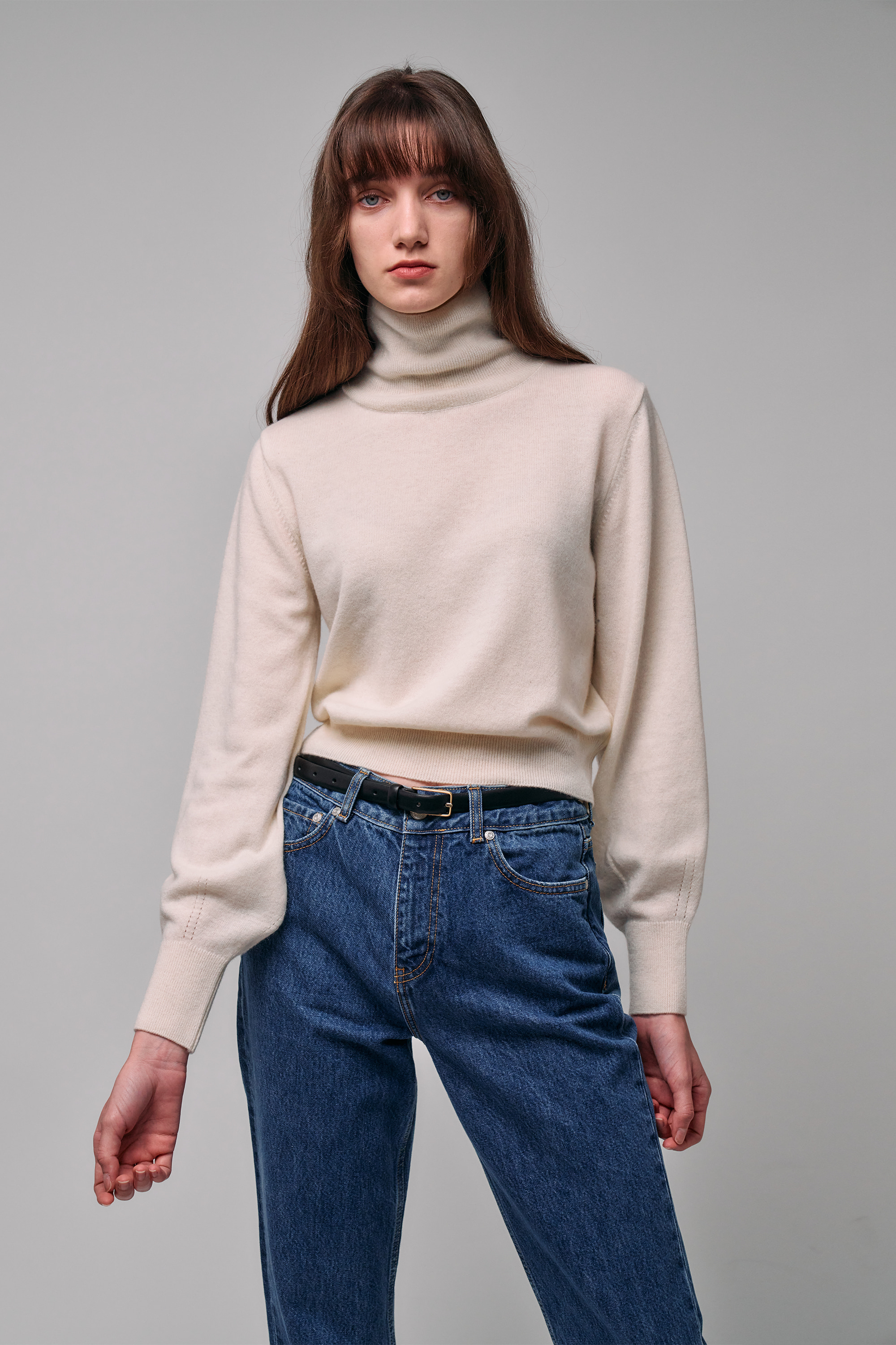 Cashmere Roll-Neck Pullover (ivory)